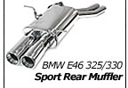 Sport rear muffler w/90mm dual round tips, BMW 325i/ci/330i/ci/330d (E46) 2001-on; for models with dual inlet pipes to rear muffler